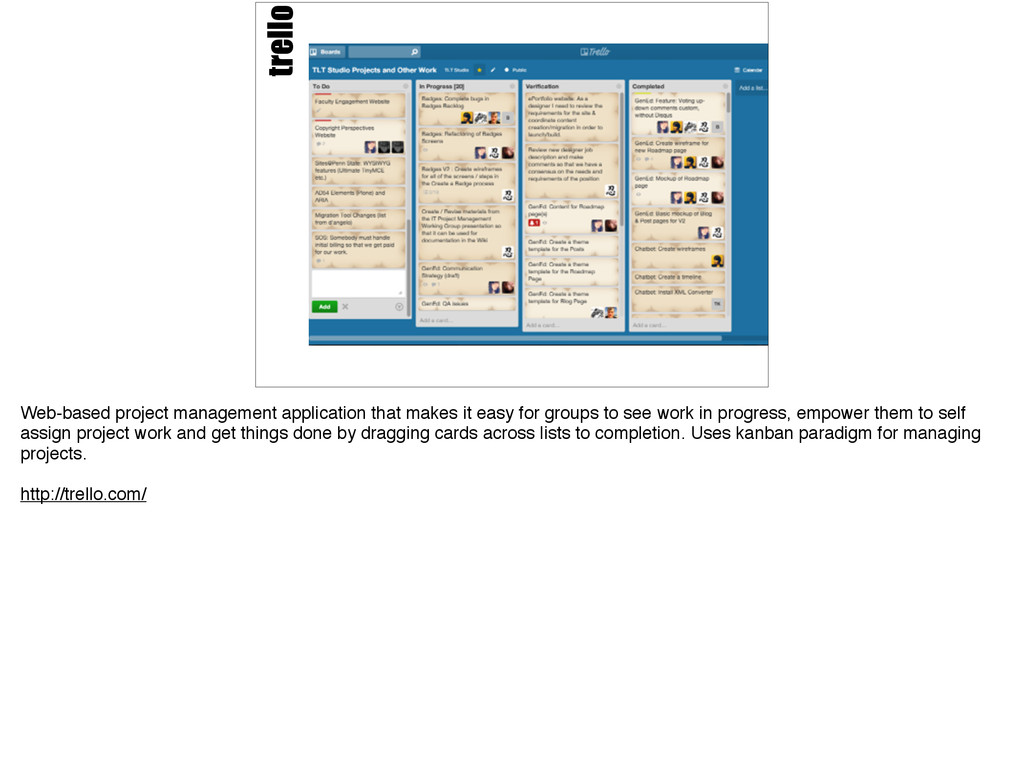 trello Web-based project management application...
