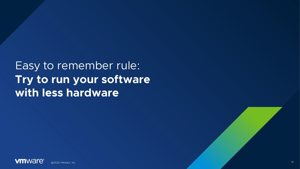 14 ©2020 VMware, Inc. Easy to remember rule: Tr...