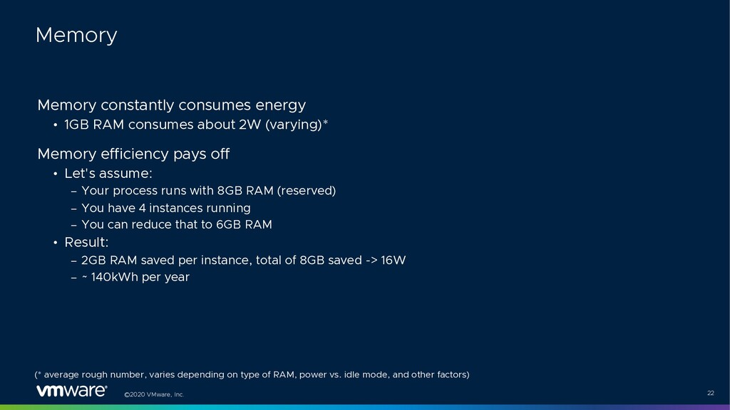 ©2020 VMware, Inc. 22 Memory constantly consume...