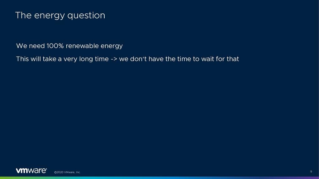 ©2020 VMware, Inc. 9 We need 100% renewable ene...