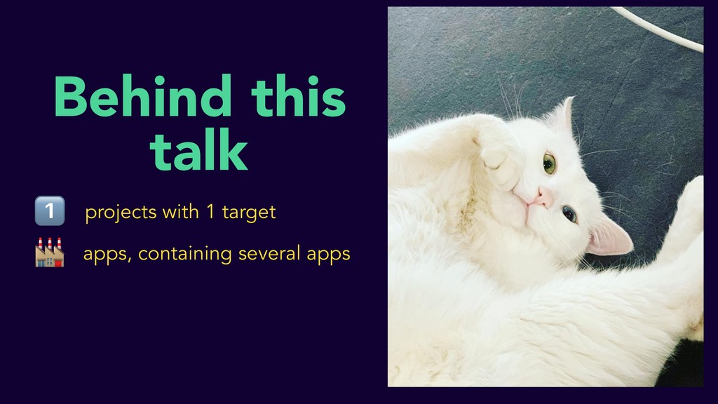 Behind this talk 1⃣  projects with 1 target app...