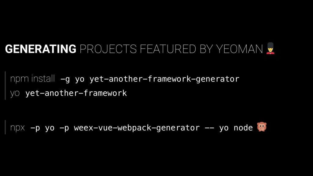 GENERATING PROJECTS FEATURED BY YEOMAN npm inst...