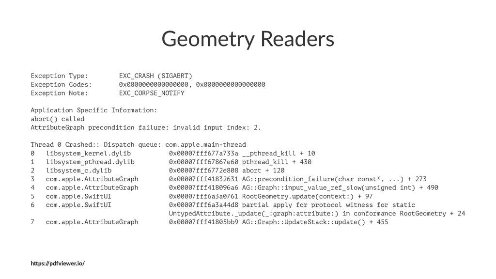 Geometry Readers Exception Type: EXC_CRASH (SIG...