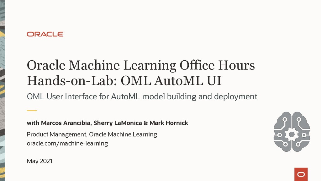 Oracle Machine Learning Office Hours Hands-on-L...