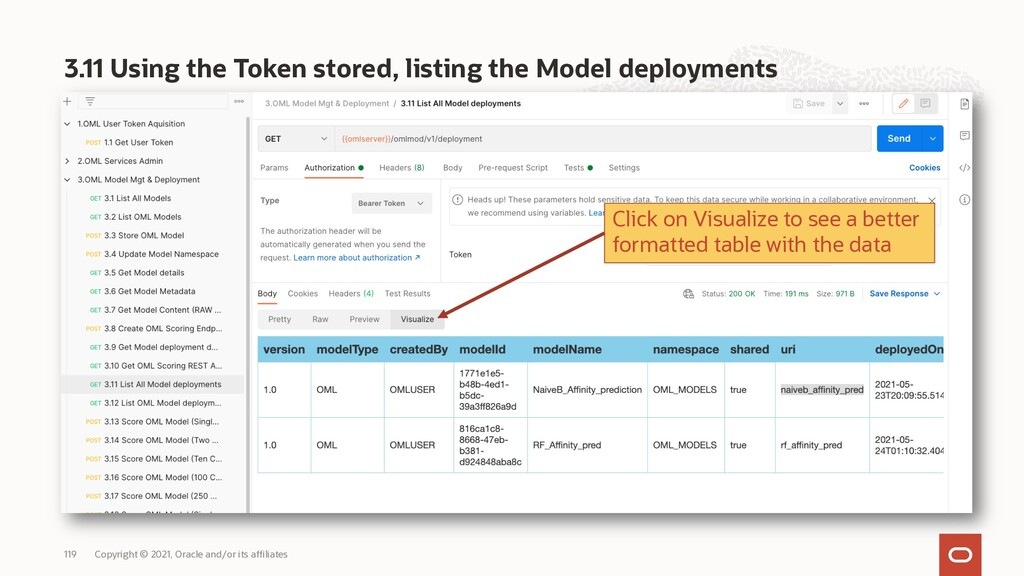 3.11 Using the Token stored, listing the Model ...