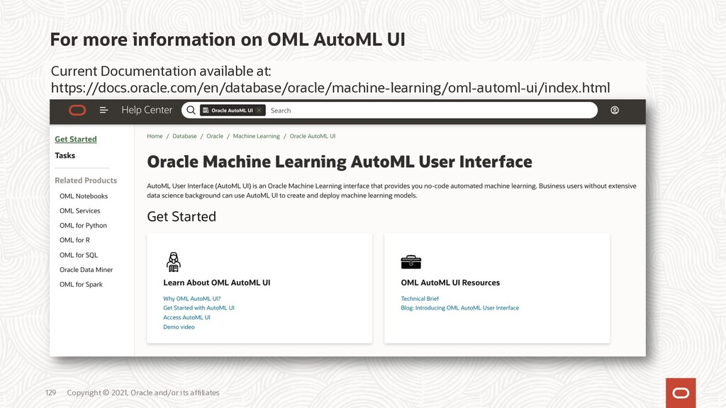 For more information on OML AutoML UI Copyright...