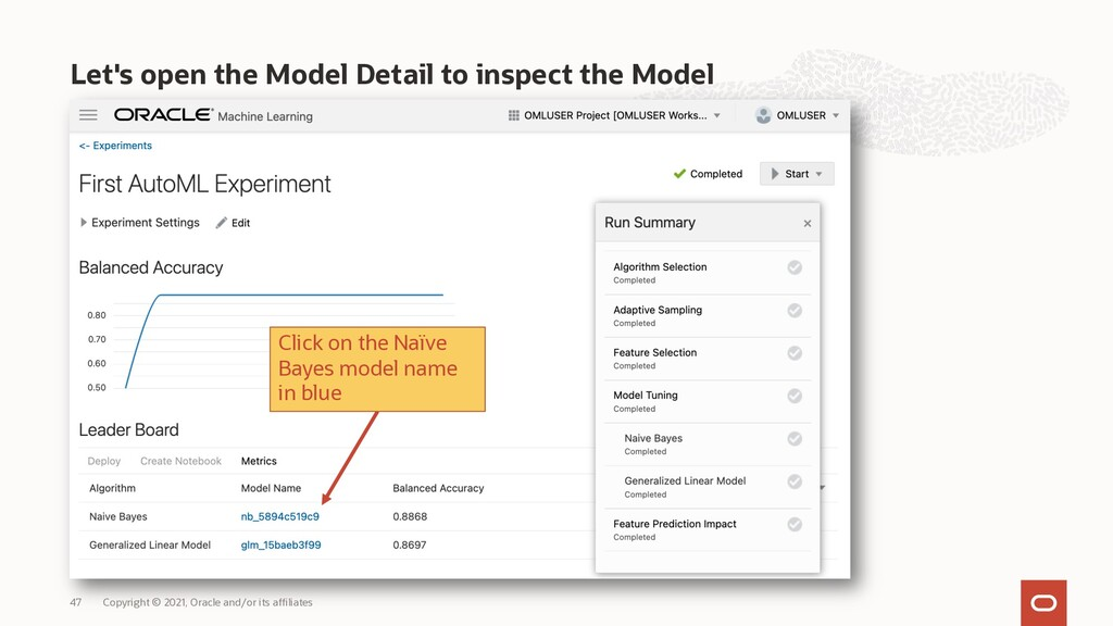 Let's open the Model Detail to inspect the Mode...