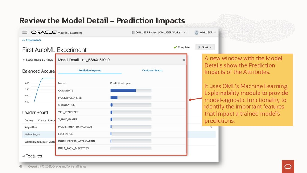 Review the Model Detail – Prediction Impacts Co...