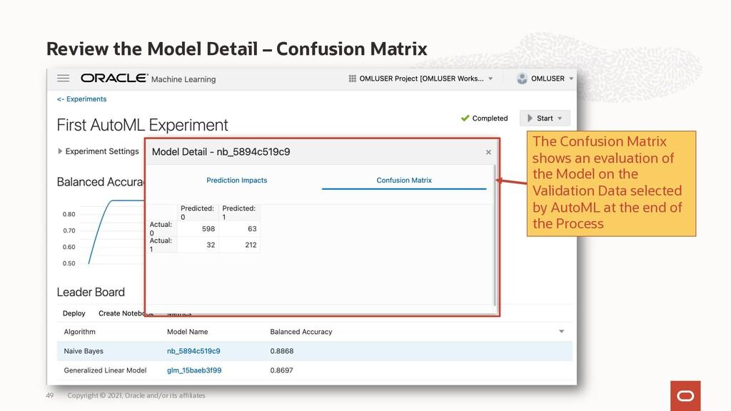 Review the Model Detail – Confusion Matrix Copy...