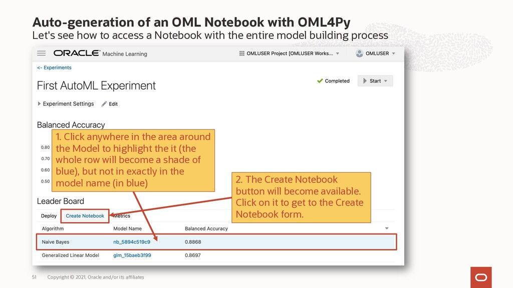 Auto-generation of an OML Notebook with OML4Py ...