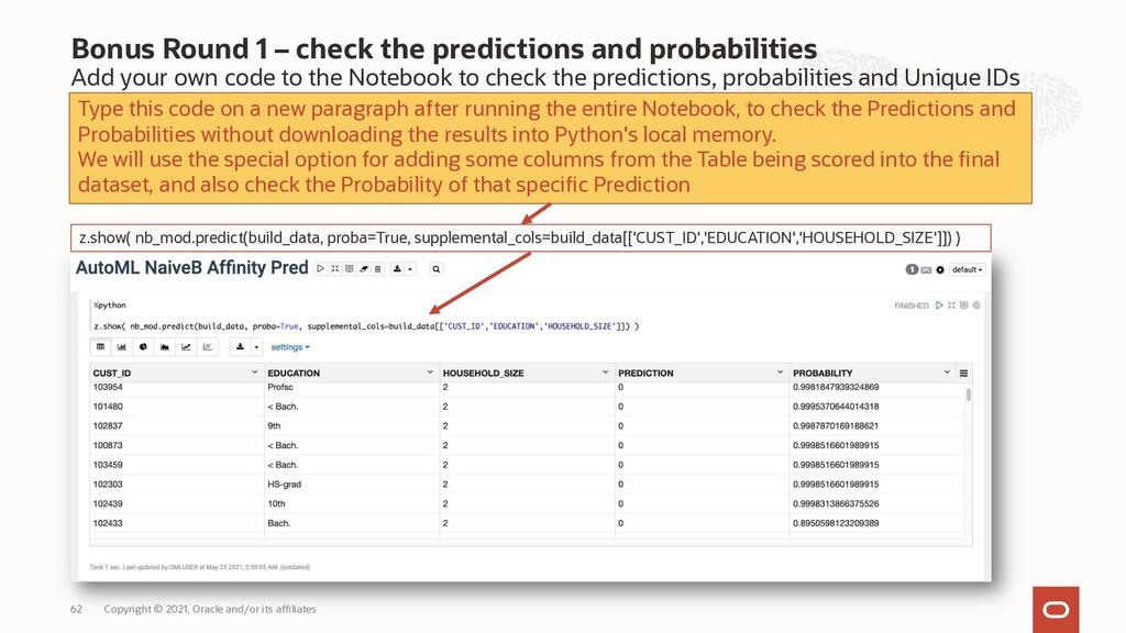 Bonus Round 1 – check the predictions and proba...
