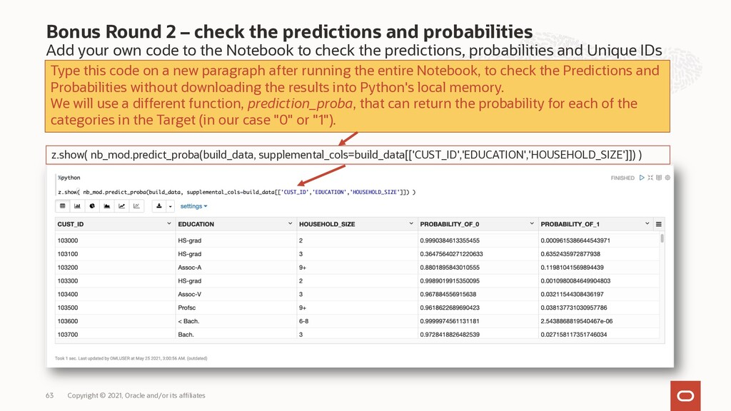 Bonus Round 2 – check the predictions and proba...