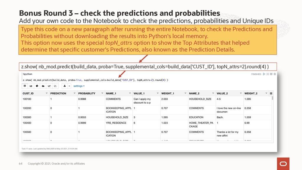 Bonus Round 3 – check the predictions and proba...