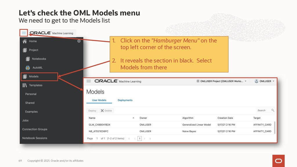 Let's check the OML Models menu We need to get ...