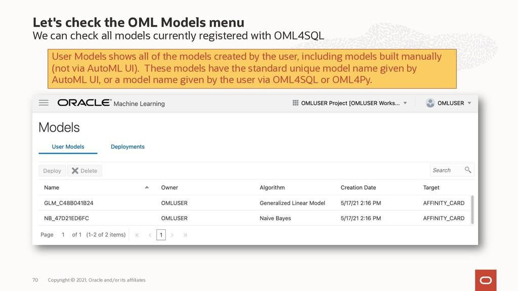 Let's check the OML Models menu We can check al...