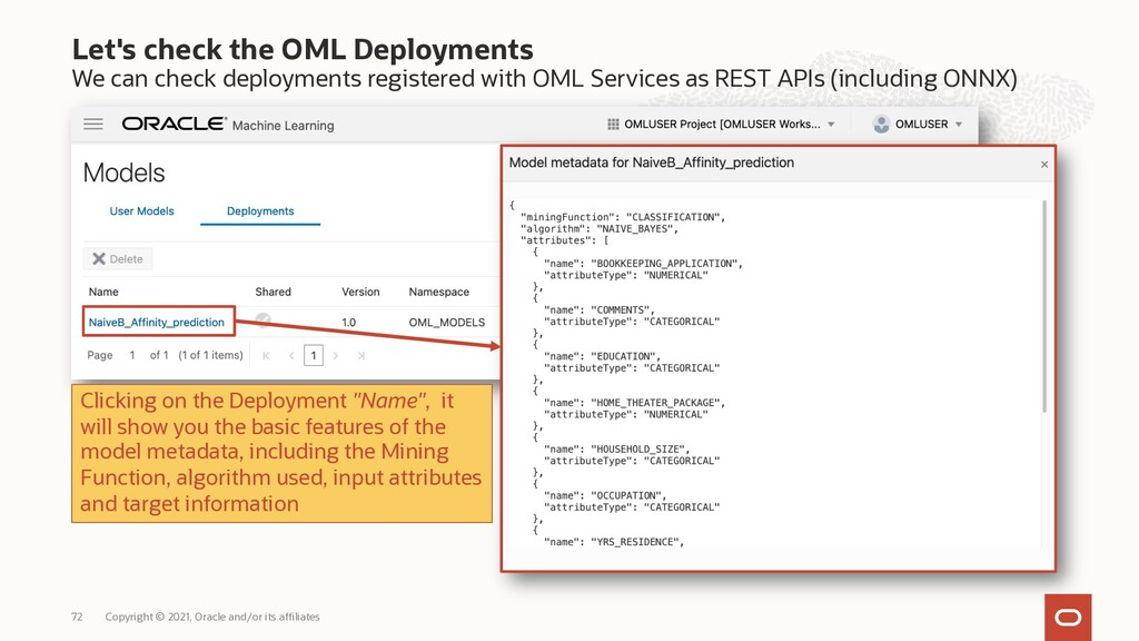 Let's check the OML Deployments We can check de...