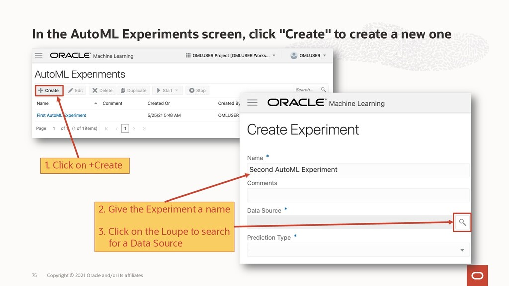 """In the AutoML Experiments screen, click """"Create..."""