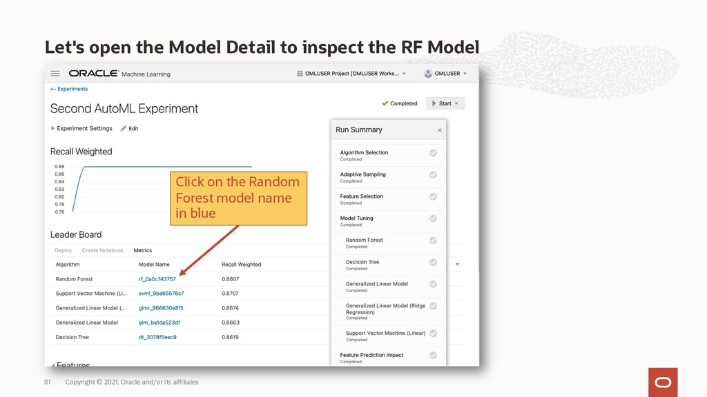 Let's open the Model Detail to inspect the RF M...