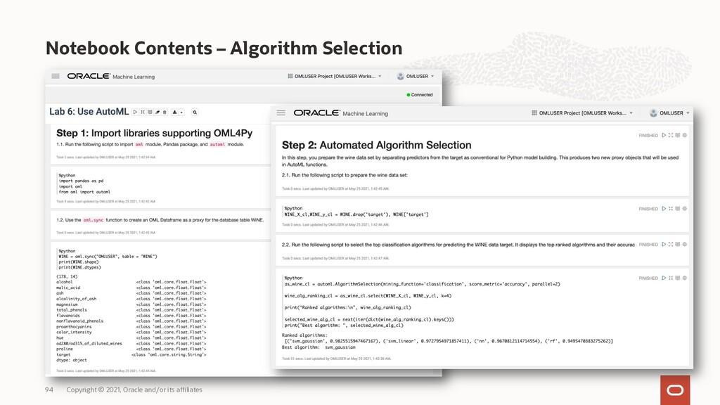 Notebook Contents – Algorithm Selection Copyrig...