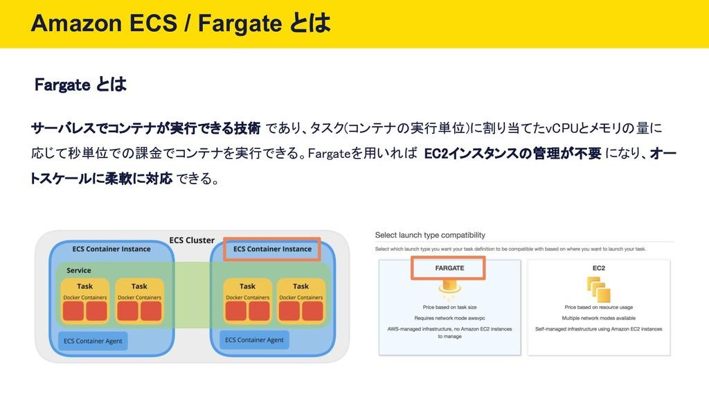 Amazon ECS / Fargate とは Fargate とは サーバレスでコンテナが実...