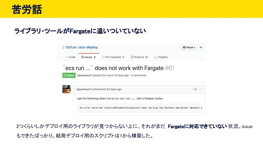 苦労話 ライブラリ・ツールがFargateに追いついていない 2つくらいしかデプロイ用のライブ...