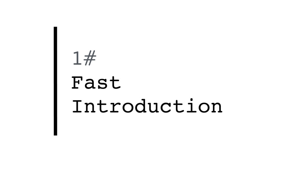 1# Fast Introduction