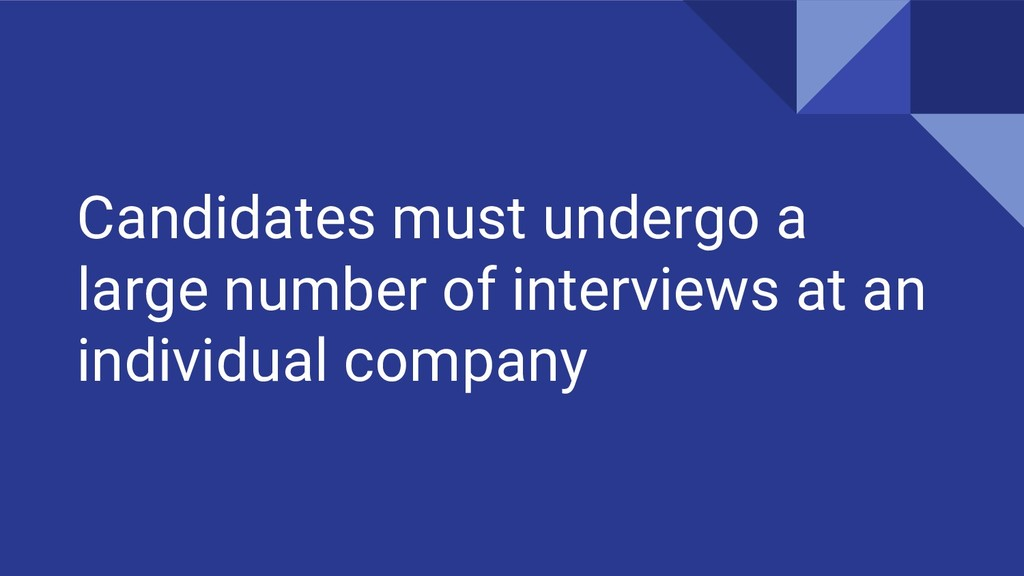 Candidates must undergo a large number of inter...