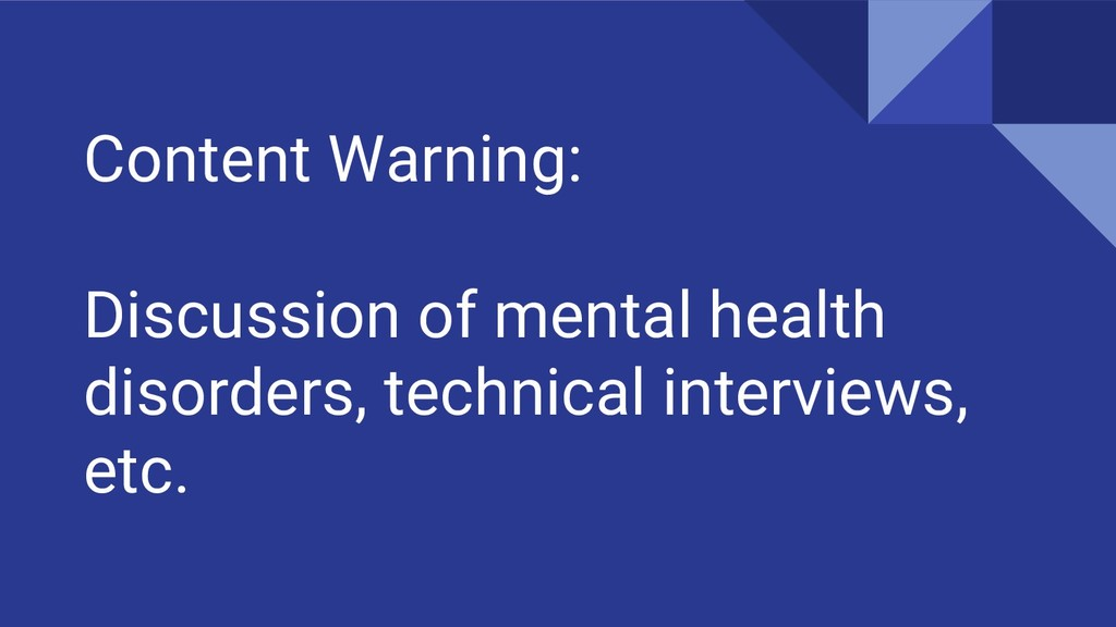 Content Warning: Discussion of mental health di...