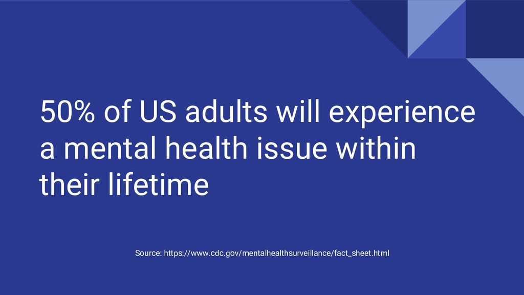 50% of US adults will experience a mental healt...