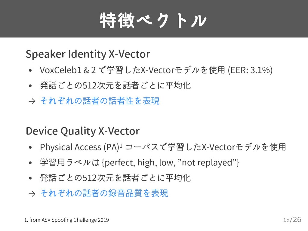 /26 特徴ベクトル 15 ▸ Speaker Identity X-Vector • Vox...