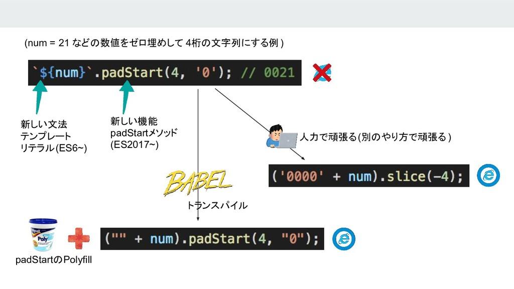 新しい機能 padStartメソッド (ES2017~) 新しい文法 テンプレート リテラル(...