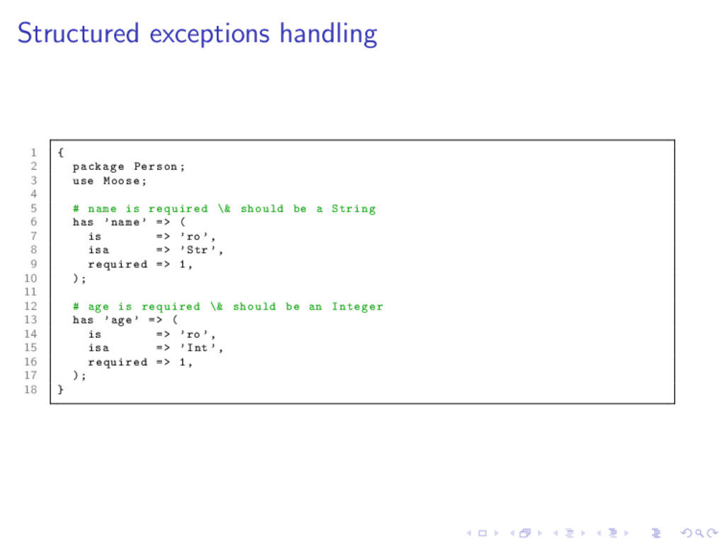 Structured exceptions handling 1 { 2 package Pe...