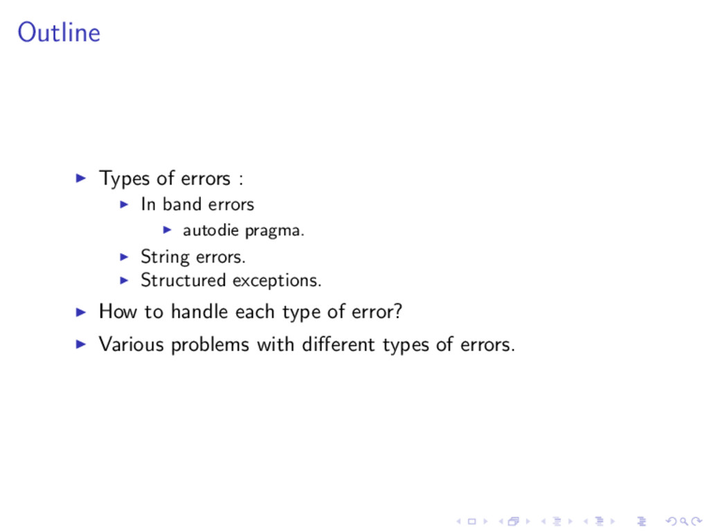 Outline ◮ Types of errors : ◮ In band errors ◮ ...