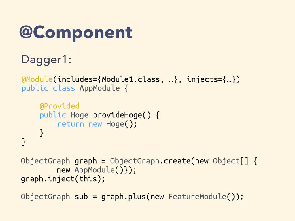 @Component Dagger1: @Module(includes={Module1.c...