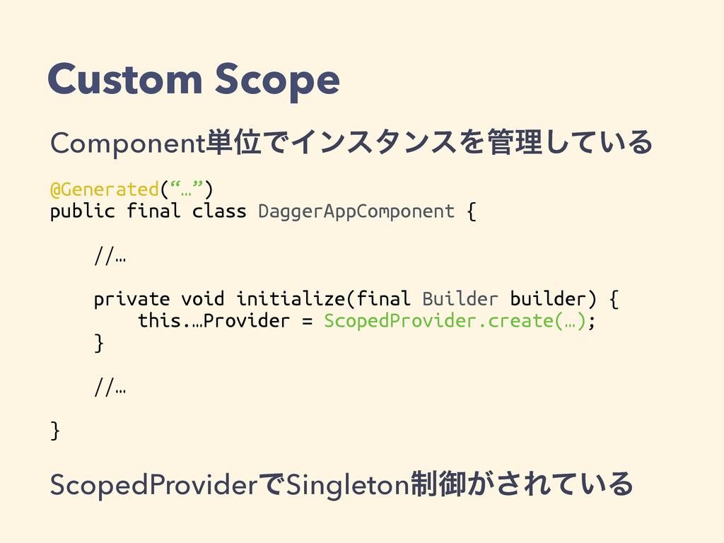 Custom Scope Component୯ҐͰΠϯελϯεΛཧ͍ͯ͠Δ @Generat...