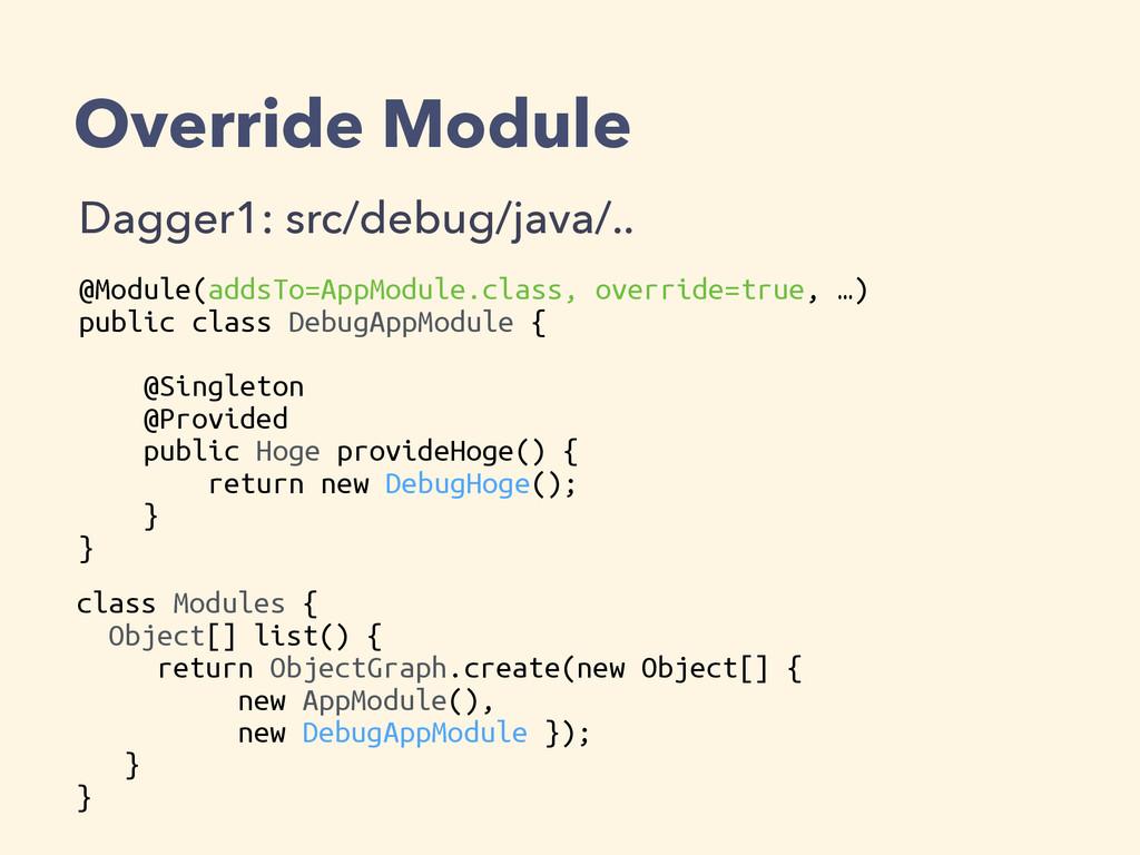 Override Module Dagger1: src/debug/java/.. @Mod...