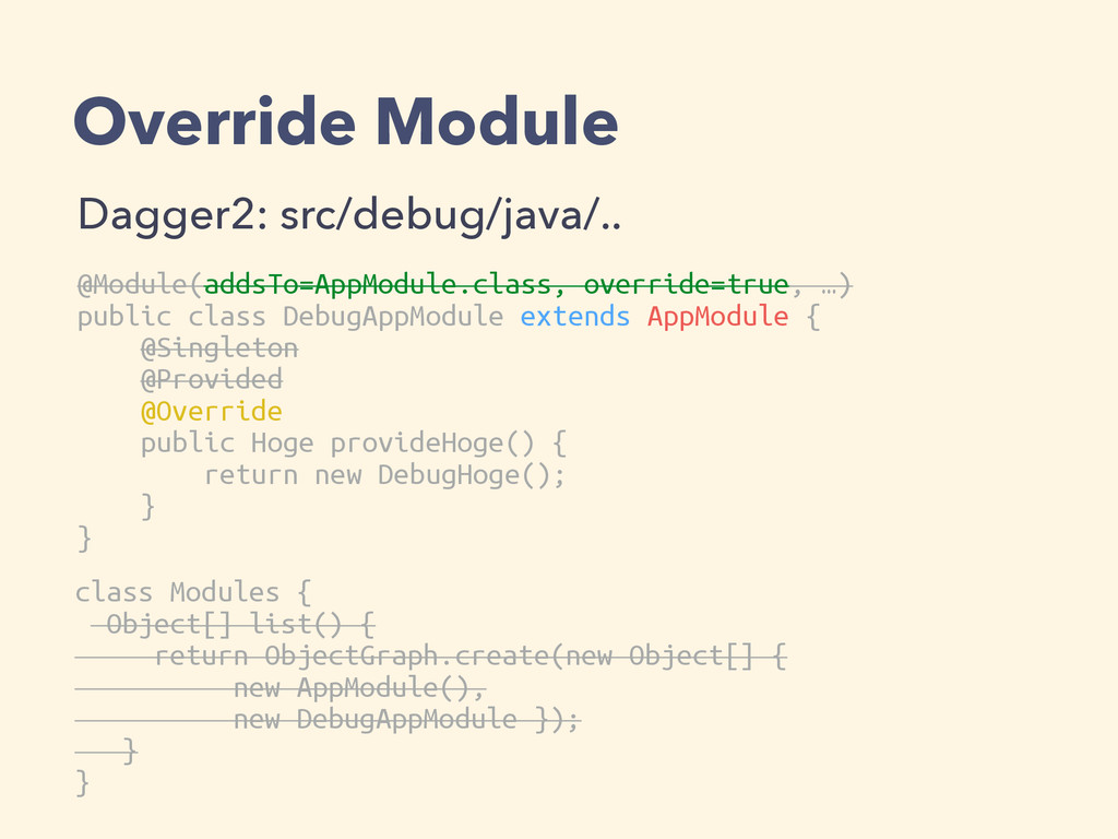 Override Module Dagger2: src/debug/java/.. @Mod...