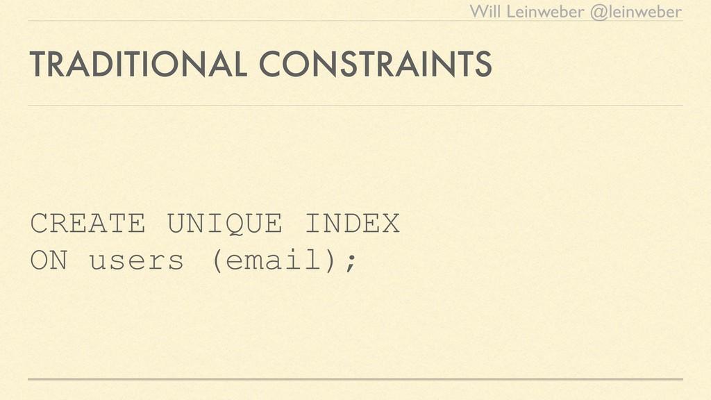Will Leinweber @leinweber TRADITIONAL CONSTRAIN...
