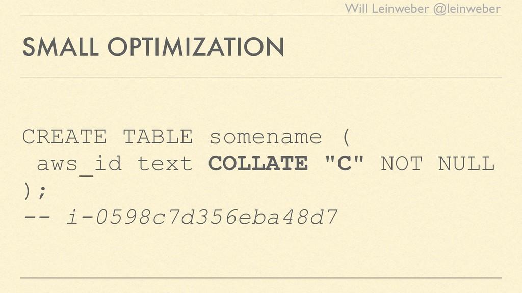 Will Leinweber @leinweber SMALL OPTIMIZATION CR...