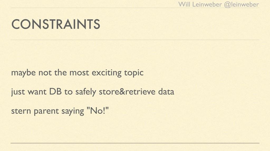 Will Leinweber @leinweber CONSTRAINTS maybe not...