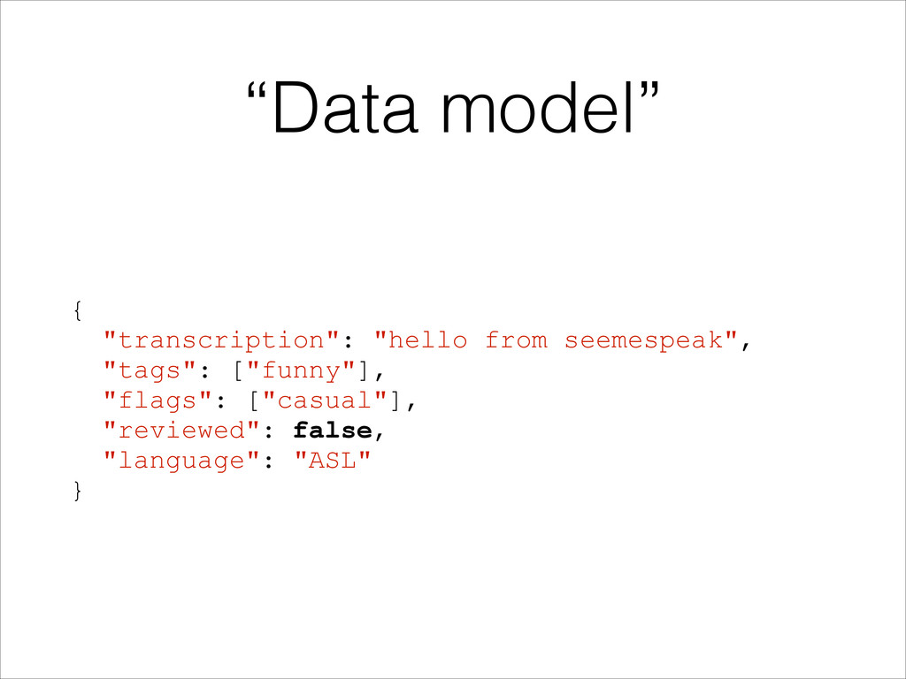 """Data model"" { ""transcription"": ""hello from see..."