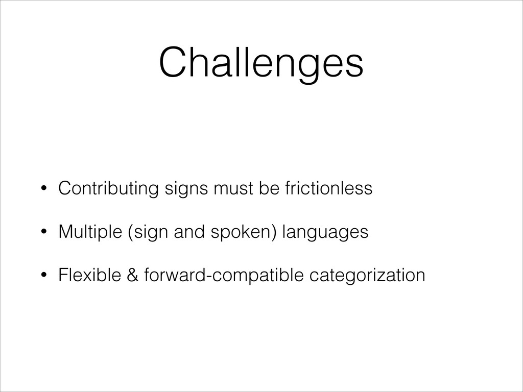 Challenges • Contributing signs must be frictio...