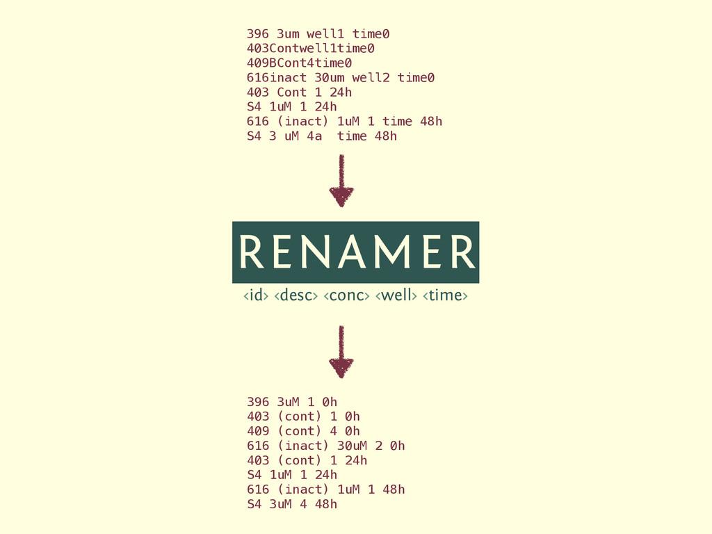 RENAMER <id> <desc> <conc> <well> <time> 396 3u...