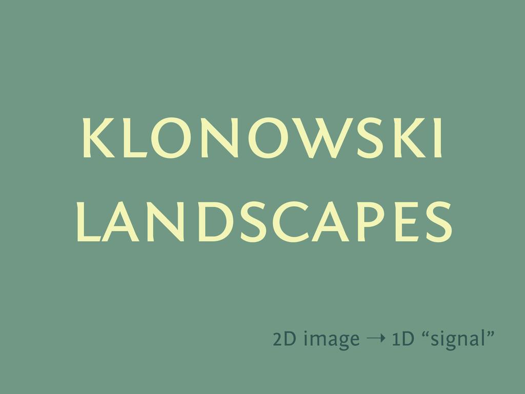 """klonowski landscapes 2D image ➝ 1D """"signal"""""""