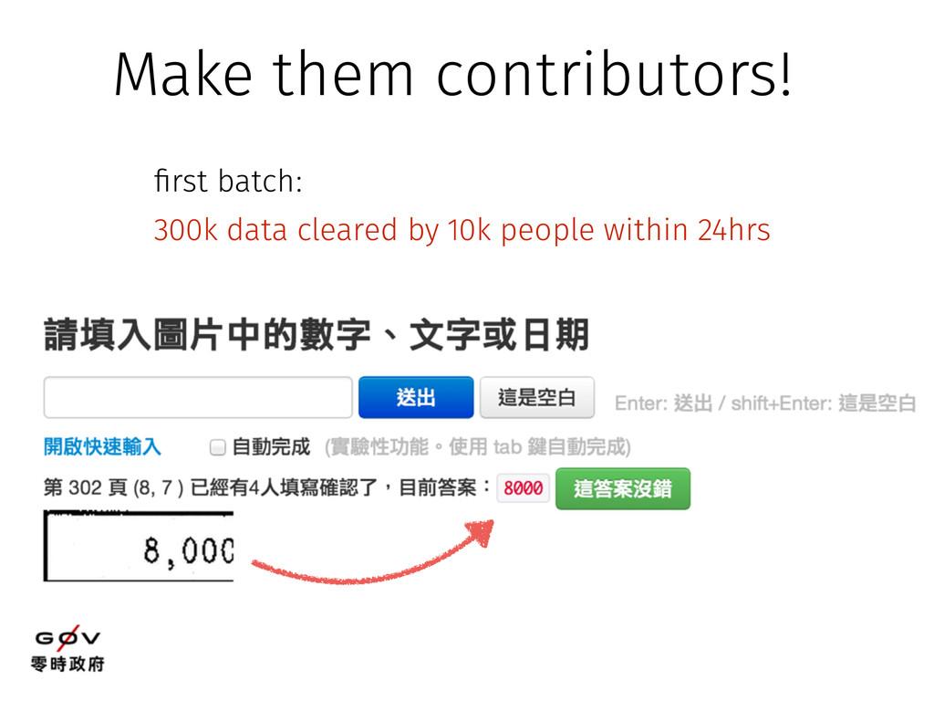 Make them contributors! first batch: 300k data ...