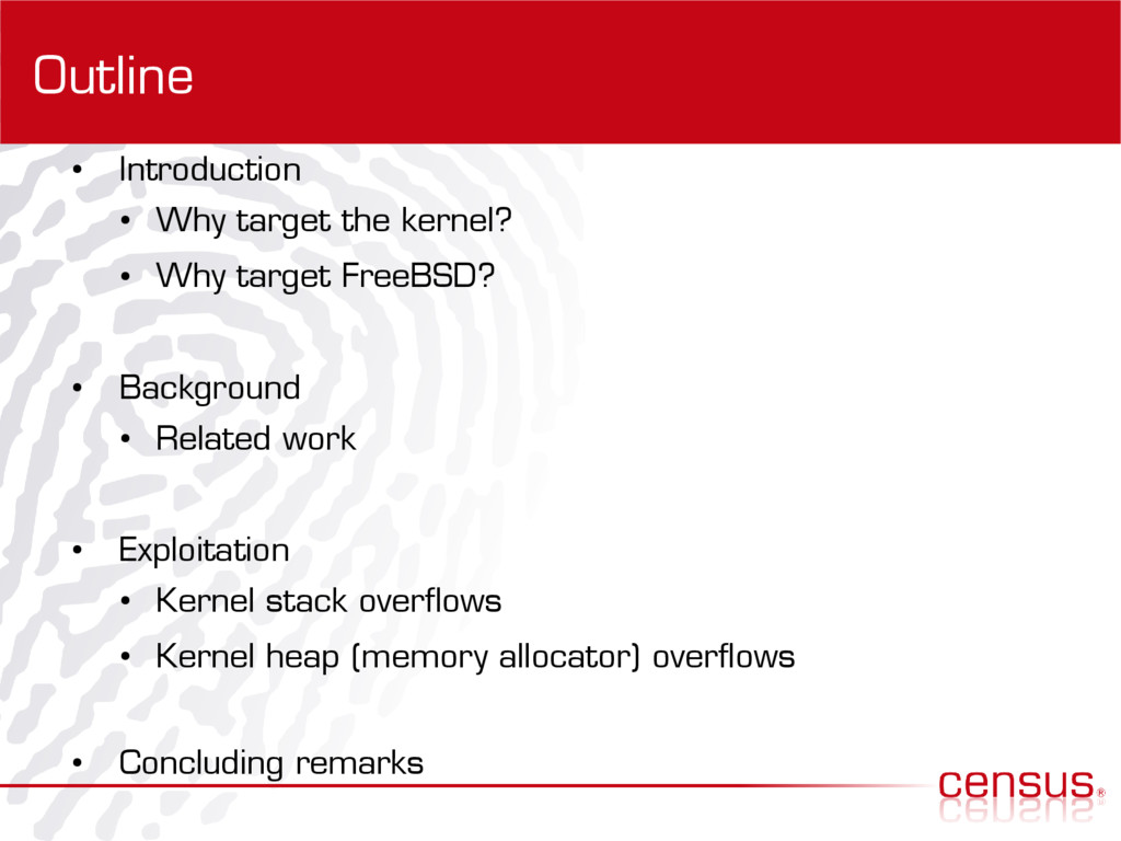 Outline ● Introduction ● Why target the kernel?...
