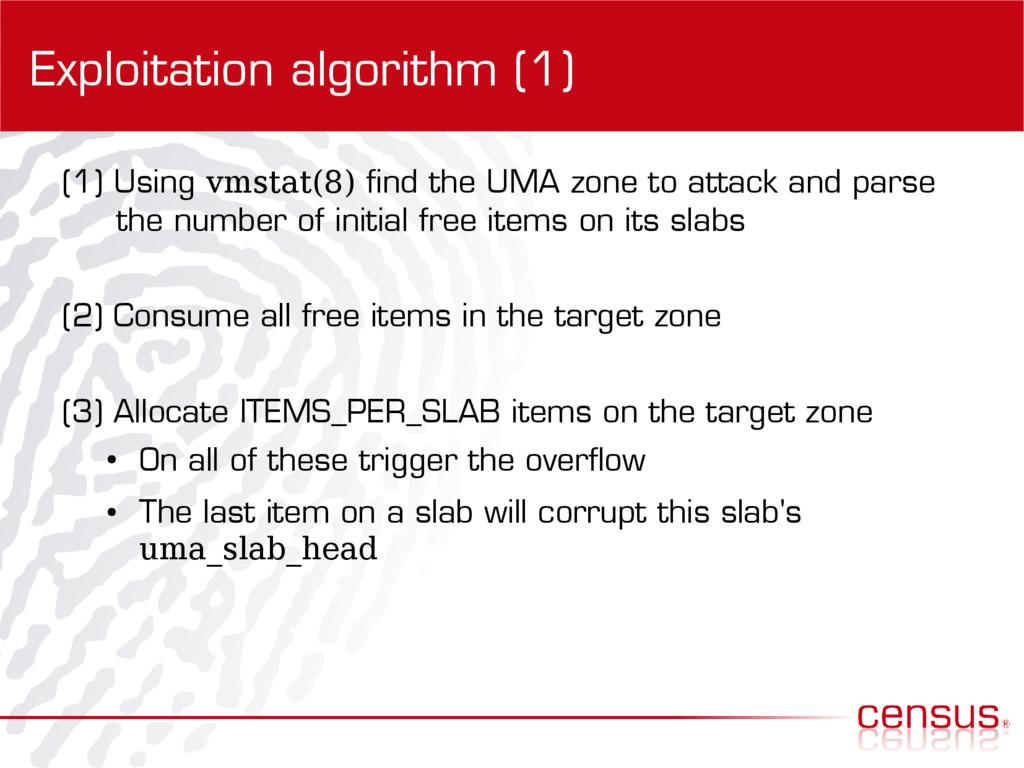 Exploitation algorithm (1) (1) Using vmstat(8) ...