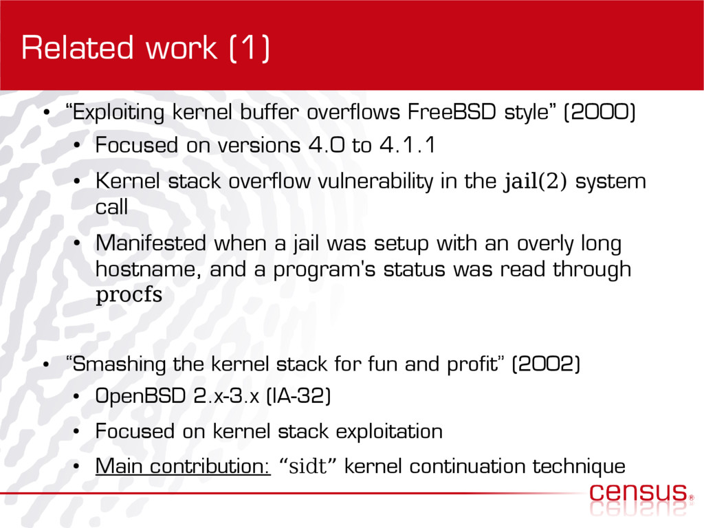 """Related work (1) ● """"Exploiting kernel buffer ov..."""