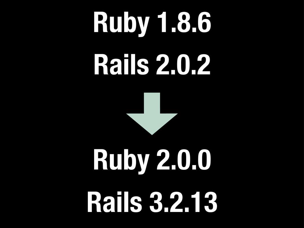 Ruby 1.8.6 Rails 2.0.2 Ruby 2.0.0 Rails 3.2.13