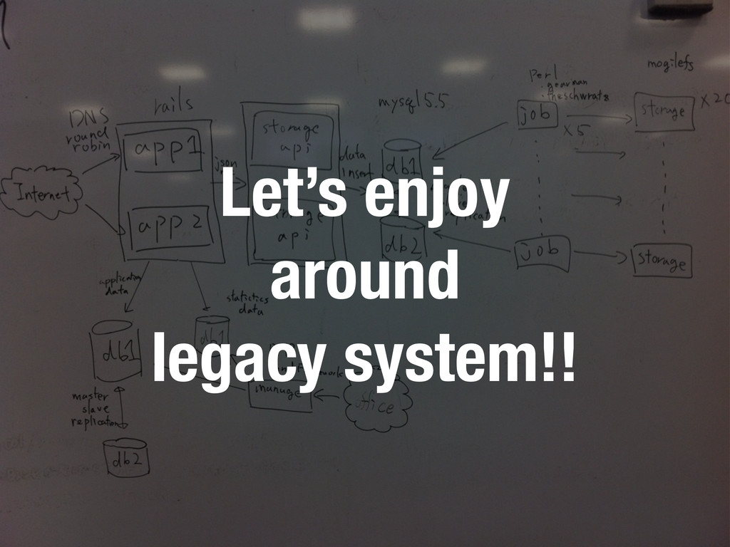 Let's enjoy around legacy system!!